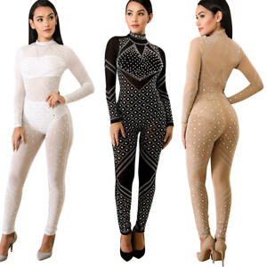 1d4ac47fb9f1 Image is loading Sexy-Women-Long-Sleeve-Hot-Drilling-Mesh-Perspective-