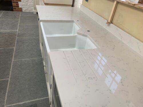 WHITE CARRARA QUARTZ STONE KITCHEN WORKTOP COUNTERTOPS UNDERMOUNT BELFAST SINK