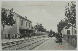 TRES-RARE-CPA-DE-ST-PAUL-TROIS-CHATEAUX-26-LA-GARE-AVEC-VARIANTE
