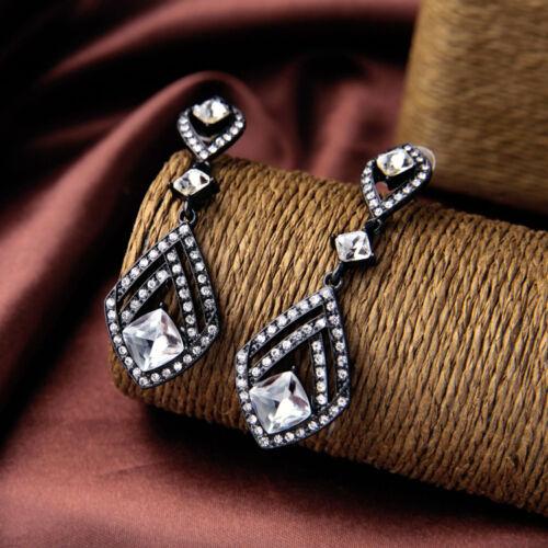 Boucles d/'Oreilles Clous Argenté Noir Pendant Art Deco Fin Retro Mariage XX 11