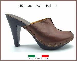 Scarpe da donna aperte sabot pelle sandali tacco alto plateau in pelle estivi 36
