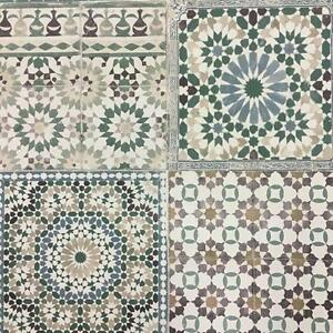 Image Is Loading Grandeco Botanical Moroccan Tile Pattern Wallpaper Retro Fl