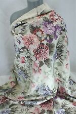 Vintage Shabby Chic Ivory Lavender Pink Blue Lg Floral Fabric Curtain 57 X 47""