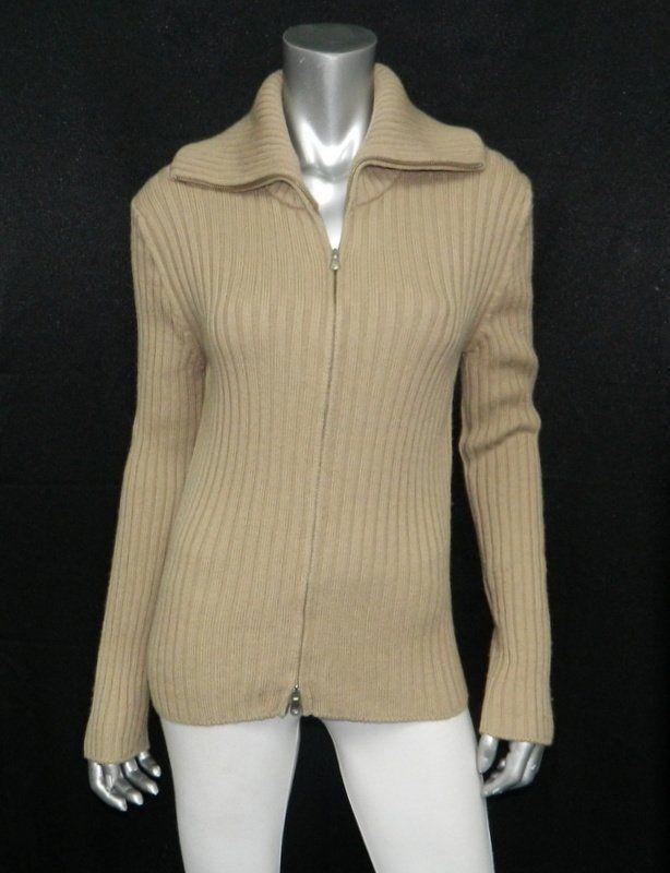UNITED COLORS BENETTON Tan-Brown Ribbed Knit Full Zipper Wool Blend Sweater sz L