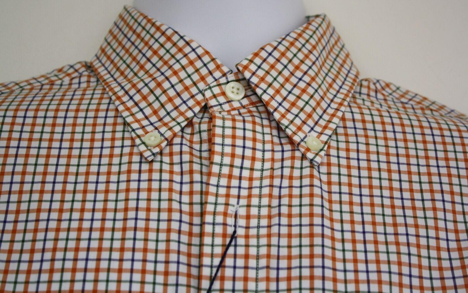 Ralph Lauren Polo Shirt orange Plaid Cotton NEW RET 145 Long Sleeve Small