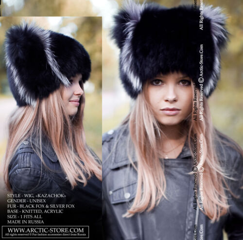 Original Russian Fur Hat WIG Knitten Beanie Base Ranched BLACK Fox With Silver