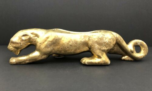 Mid Century 24 KT Gold Panther Planter Weeping Gold Applique Hollywood Regency