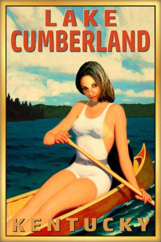 Lake Cumberland Kentucky Travel Poster Canoe Pin Up Wolf Creek Dam Art Print 273