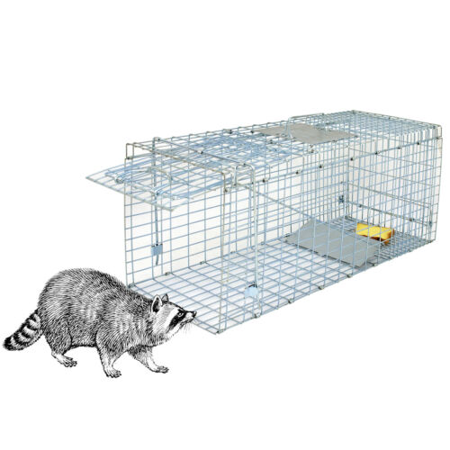 "Professional Humane Animal Trap 32/""x12.5/""x12/"" Large Steel Cage Spring Loaded"