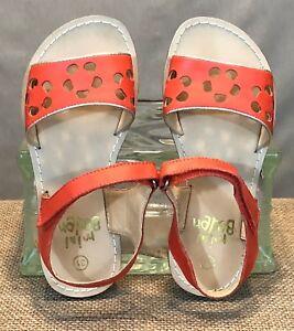 Mini Boden Girls Sandals Coral Orange Strap Flower Cut