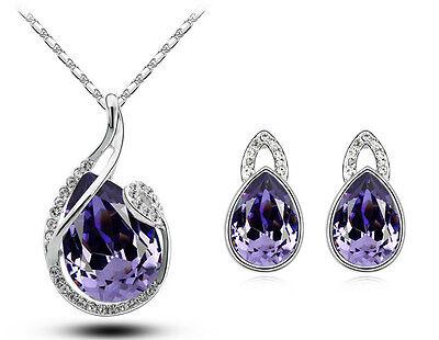 Silver & Crystal Purple Water Drop Jewellery Set Stud Earrings & Necklace S532