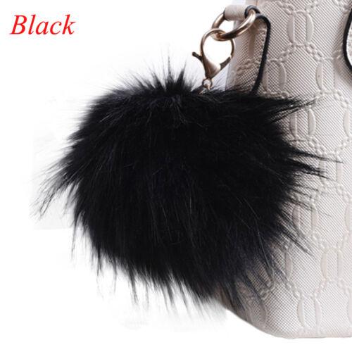 Fluffy Large Faux Fox Fur PomPom Ball Handbag Pendant Keychain Key Ring 13cm aua