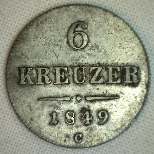 1849C Austria 6 Kreuzer KM#2200 Silver XF World Coin #P