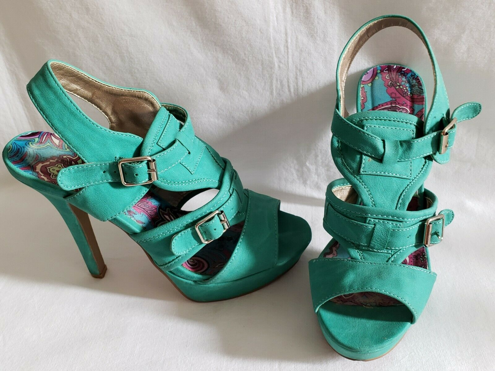 Womens charlotte russe brand turquoise/real slim high heel stiletto pumps sz 8
