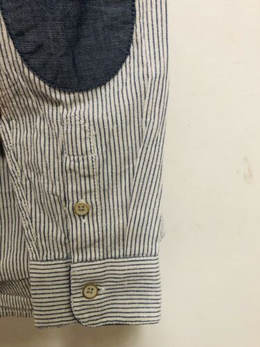 NWT ZARA BOYS Blue White Striped shirt with long sleeves patches size 7-8 128cm