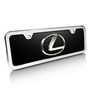 Lexus-3D-Logo-Black-Acrylic-Half-size-License-Plate-with-Chrome-Frame-Kit