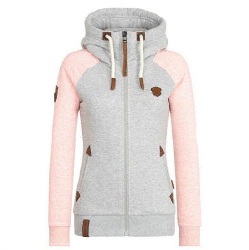 Damen Hochkragen Hoodie Sweatjacke Kapuzenpullover Sweater Kapuzenjacke Gr.S-5XL