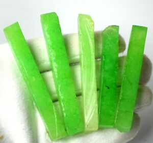 Festive Sales 300 Ct 5 Pcs Zambian Emerald Gemstone Slice Rough Lot Natural