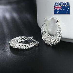 New-925-Sterling-Silver-Filled-Women-26mm-Filigree-Flower-Hoop-Clip-Earrings