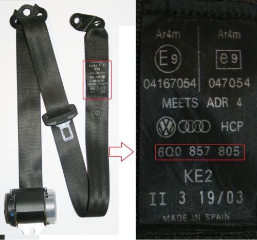 Vw polo seat belt passagers côté arrière 2002 à 2005 hayon n//s//r 6Q0 857 805