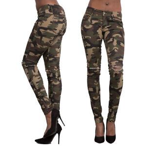 d66bc5f227cb5f Women Ladies Camo Army Slim Stretch Jeans Tight Ripped Leggings ...