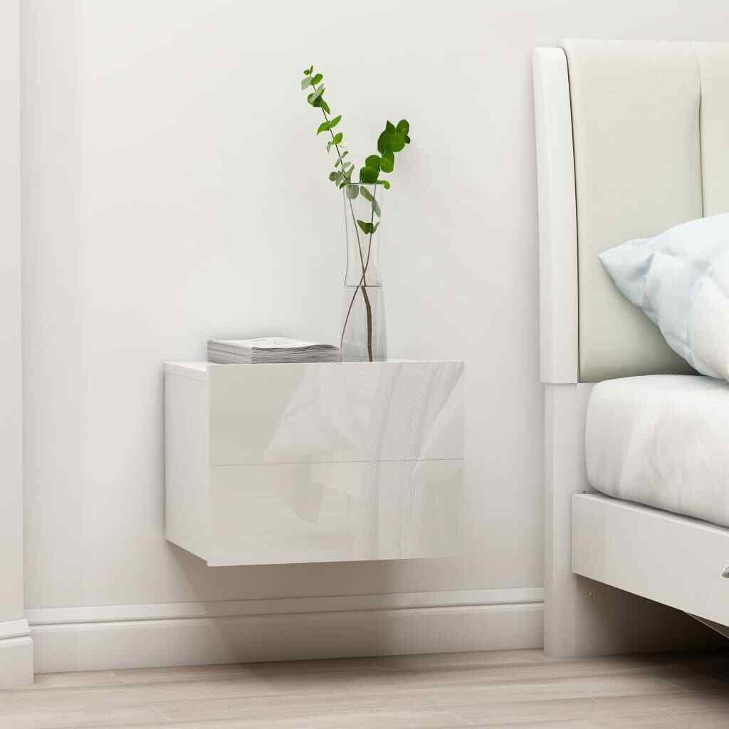 vidaXL 2x Mesitas de Noche Aglomerado Blanco Brillante Aparador Dormitorio