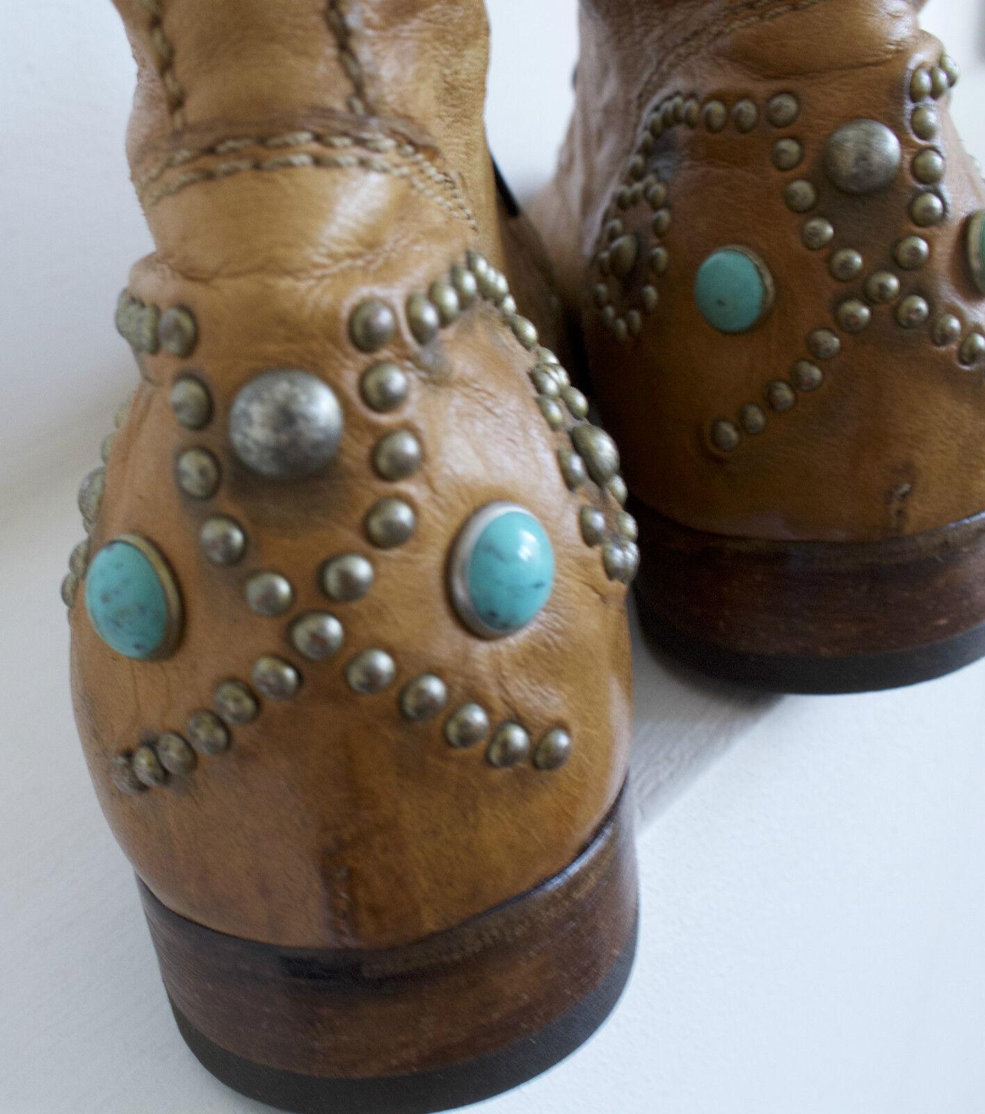 PRIMABASE Schnür-Boots Stiefeletten Leder handgenäht 39 Ethno Boho Festival Gr. 39 handgenäht 2abfb2