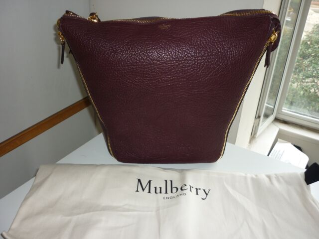 Mulberry 100% Authentic Camden Textured Goat Leather Shoulder Bag  K120inBurgundy 1c4cf71aa43b4