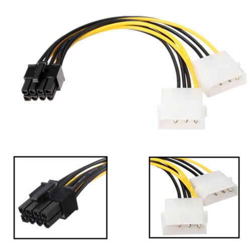 Dual Molex LP4 4 Pin to 8 Pin PCI-E Express Converter Adapter Power Cable ATF