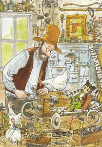 Postkarte: Pettersson u. Findus in der Werkstatt / Autoreparatur
