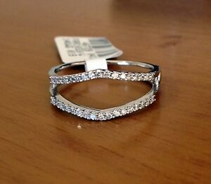 025 ct Solitaire Enhancer Diamonds Ring Guard Wrap 14k White Gold