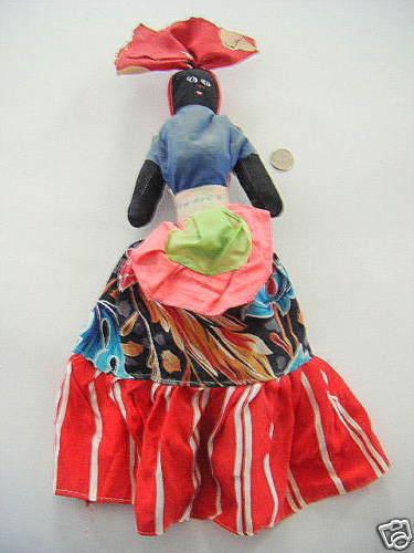 Antiguo Paño Negro Muñeca De Jamaica elaborar Mira