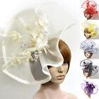 6color Headpieces Fascinator Feather Large Hat Hair Clip Flower Party Race Women