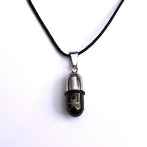 Heavy Metal 80s Gothic Horror Poison Pill Hidden Compartment Pendant Necklace