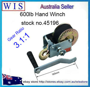 600LBS Polyester Strap Hand Winch Hand Crank Gear Winch ATV Boat Trailer-45196