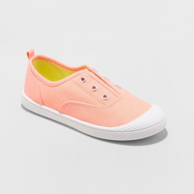 CAT /& JACK Mandy Laceless Canvas Sneakers Coral Girls Size 5 NWT