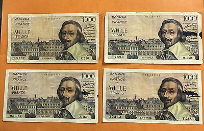 Lot 4 Billets 1000 Francs French Banknote Richelieu Numismatique Paper Money