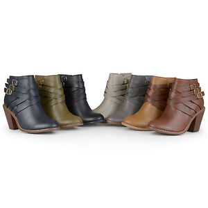 Journee-Collection-Womens-Standard-and-Wide-Width-Ankle-Multi-Strap-Boots-New