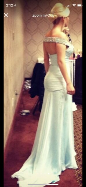 Off the shoulder baby blue Sherri Hill prom or pageant gown