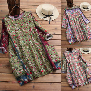 Women-Linen-Blend-Patchwork-Blouse-Floral-O-Neck-Long-Sleeve-Loose-Top-Plus-Size