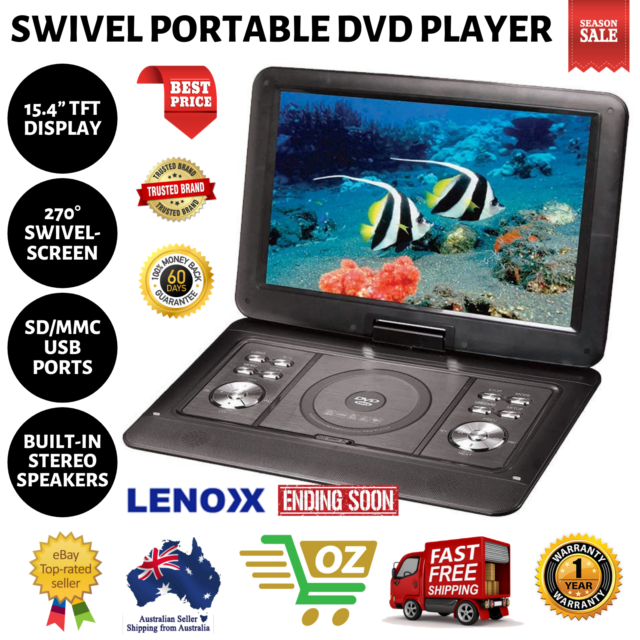 """Lenoxx 15.4"""" Swivel Portable DVD Player Car Charger/USB/Remote/Built-in Battery"""