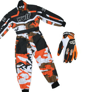 Kinder-Wulfsport-WULF-MX-Quad-Motocross-Overall-und-Handschuhe-Orange-Tarnmuster