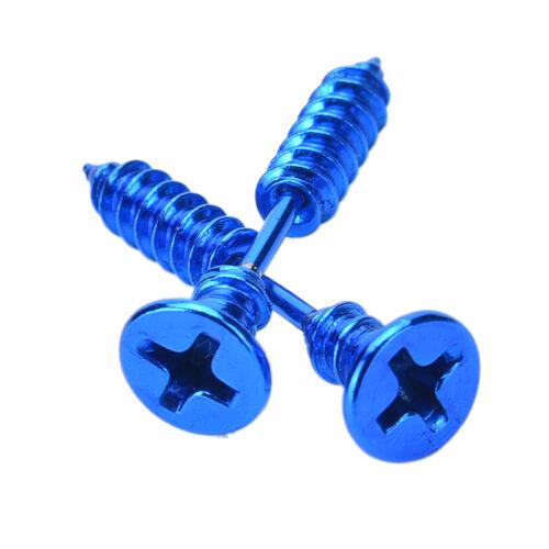 2x Jewelry Punk Style Women/'s Men/'s 316L Stianless Steel Screw Stud EarringsRDR
