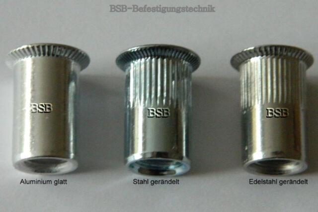 50 Stk Blindnietmuttern M3 Stahl verzinkt Senkkopf glatt 1,7-3mm Nietmuttern