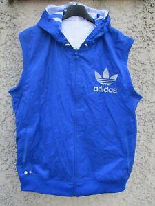 Détails sur Veste sans manche blouson ADIDAS réversible TREFOIL bleu blanc jacket jacke XL