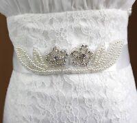 Accessoire Mariage : Ceinture Robe De Mariée En Tulle , Perles Et Strass Blancs