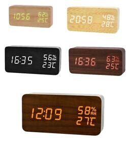 Wooden LED Alarm Clock Digital Temperature Display Sound Voice Control Bedside