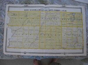 Sioux County Iowa Map.Antique Humboldt Wright Lyon Osceola Dickinson Sioux O 039 Brien