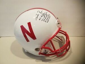 Mike Rozier Nebraska Cornhuskers Full Size Signed Autographed Stat Helmet 5 INS