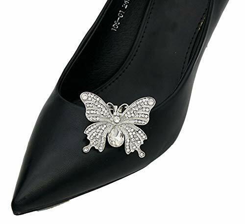 Lauthen.S 1 Pair Rhinestone Butterfly Wedding Shoe Clips Bride Party Shoe Dec...